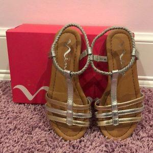 Metallic Nina sandals